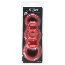Renegade szilikon péniszgyűrű szett - piros