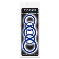 Renegade szilikon péniszgyűrű szett - kék