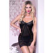Chilirose csipkés fekete hálóruha - S/M