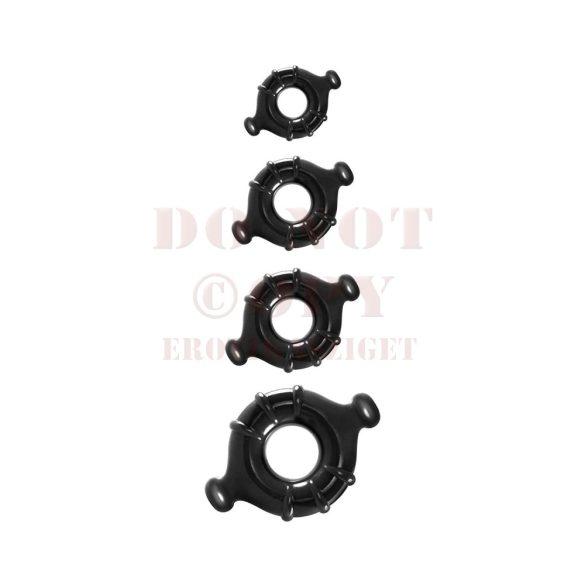 Négyes bordázott rugalmas gyűrűszett - fekete