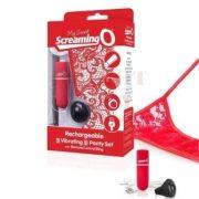 Tölthető vibrációs piros tanga - Mysecret Screaming Panty