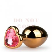 EasyToys fém anál tágító szív kővel - arany nagy